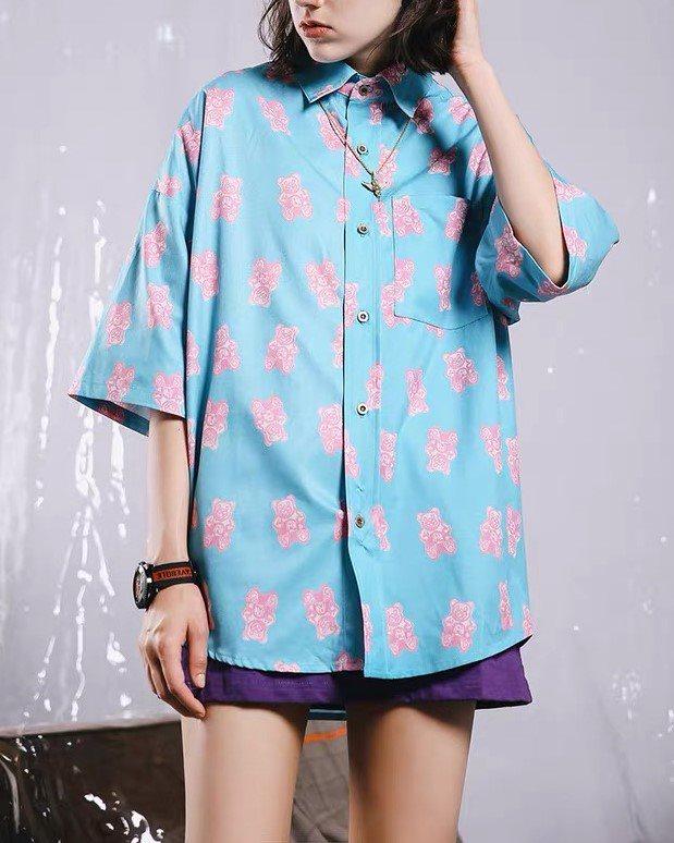 ピンククマ半袖シャツの画像1